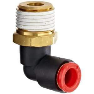 SMC KQ Series Brass Push to Connect Tube Fitting, 90 Degree Elbow with