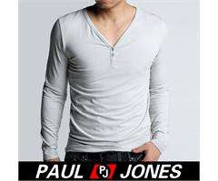 New Mens Slim Fits Cotton & Lycra Long Sleeve V Neck Casual T Shirt