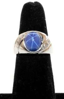 14K White Gold 3.06ct Blue Star Sapphire & Diamond Ring