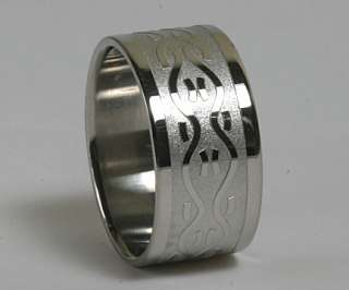 Mens Womens 316L Stainless Steel Celtic 10mm Ring Bands