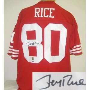 Jerry Rice Autographed/Hand Signed Custom Red Jersey