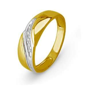 10KT Yellow Gold Round Diamond Five Stone Mens Ring (1/20