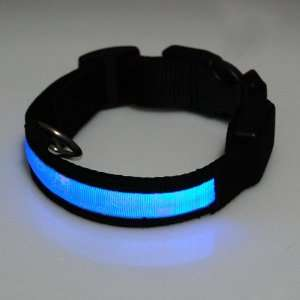 Collar for Dogs and Cats with 3 Modes Blue LED Flashing Lights, Black