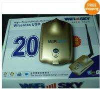10PC WiFiSKY 1500mW USB Wireless WiFi Adapter 20G power