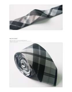 Bros Mens Stylish Casual Dress PLAID Slim Neck Tie BLACK/GRAY S.04