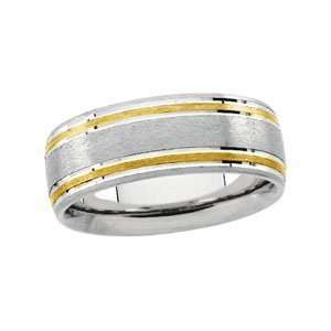 14K White/Yellow Gold SIZE 11.00 Two Tone Round Designer Band Jewelry