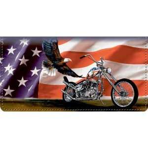Hard. Live Free Patriotic Motorcycle Checkbook Cover