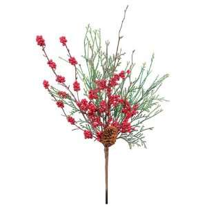 Pack of 12 Christmas Greens Cedar, Red Berry & Pine Cone