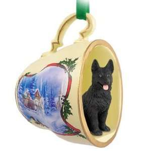 German Shepherd Christmas Ornament Sleigh Ride Tea Cup