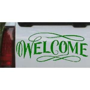 10in X 4.1in Dark Green    Welcome Swirls Business Car Window Wall