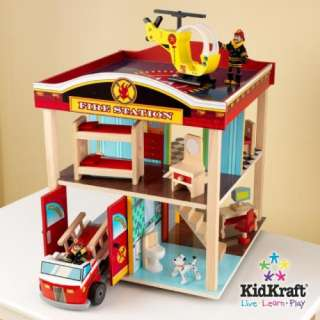 New KidKraft Kids Wooden Toy Fire Station Play Set