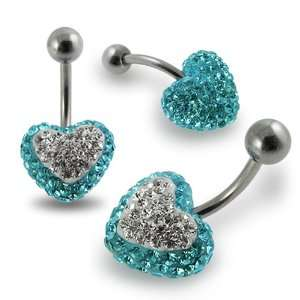 Crystal stone Heart Belly Ring Jewelry