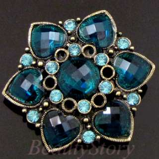 ADDL Item  1pc antiqued rhinestone crystal flower brooch