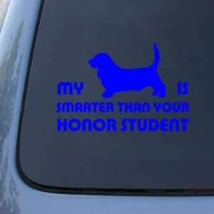 HONOR STUDENT   BASSET HOUND   Dog Decal Sticker #1524  Vinyl Color