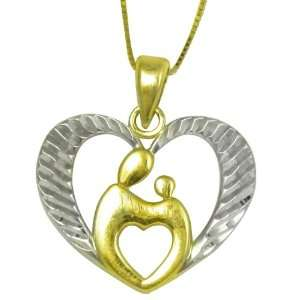 10kt Two Tone Gold Diamond Cut Mother and Child Pendant