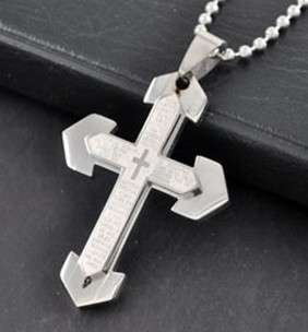 mens stainless steel pendant cross necklace W chain new