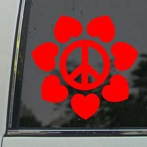 Peace And Love Flower Red Decal Truck Window Red Sticker