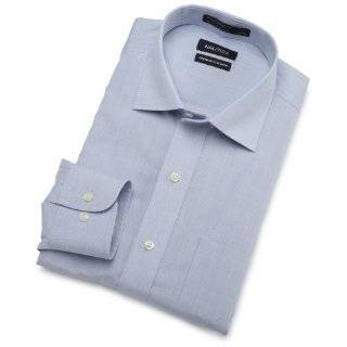 Mens End On End With White Collar Non Iron Dress Shirt Clothing