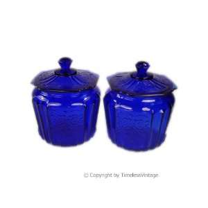 Set 2 Depression Glass Mayfair Cobalt Blue Covered Jars