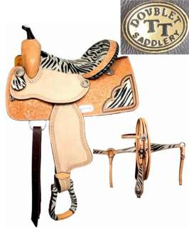 DOUBLE T WESTERN BARREL RACER ZEBRA TRAIL SHOW HORSE SADDLE 4PC