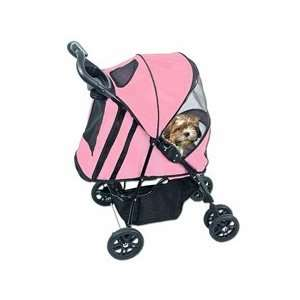 4 Wheel Deluxe Pet Dog Cat Stroller Pink