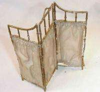 DOLL HOUSE ACCESSORY, 3 PANEL BAMBOO SCREEN GILT PEWTER
