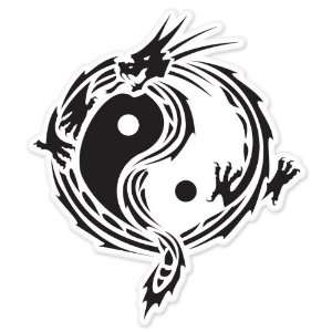Yin Yang Dragon car bumper window sticker 5 x 4