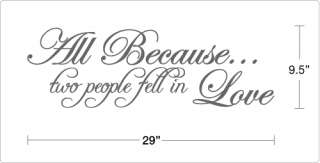 All Because two people fell in Love   Vinyl Wall Art Quote Decal