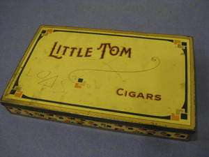 vtg 20s Art Deco Little Tom Advertisement Promo Cigar Tin Case