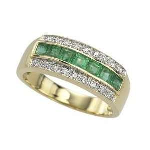 14k Yellow Gold Square Emerald & Diamond Band Ring