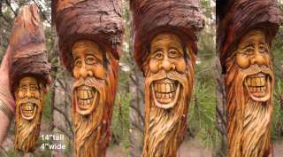 Tree Wood Wizard Rustic Spirit Log Home Gnome Cabin Carving Forest