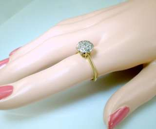 Antique Deco 14K White Yellow Gold Diamond Engagement Ring Vintage Old