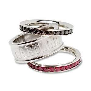 Carolina Gamecocks Logo Crystal Stacked Ring Set Size 7 Sports