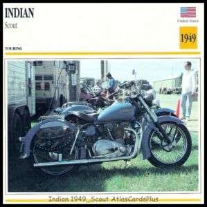 Motorcycle Card 1949 Indian Scout 440 Twin Motocycle