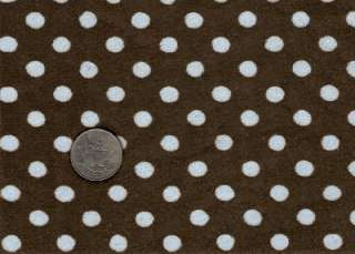 BROWN BLUE POLKA DOT MINKY CHENILLE SEWING FABRIC 30x36