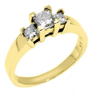 STONE PAST PRESENT FUTURE DIAMOND RING PRINCESS CUT YELLOW GOLD