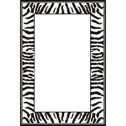 Lyndhurst Collection Zebra Border Black/ White Rug (5 3 x 7 6
