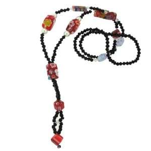 Long Beaded Red Murano Glass Necklace Jewelry