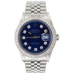 Mens Datejust White Gold Blue Diamond Dial Watch