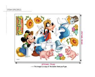 MOUSE & FRIENDS Removable Vinyl Art Wall Decor Sticker Kids