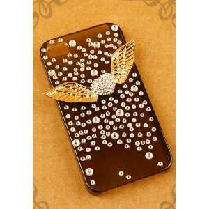 3d Angle Wings on Heart Rhinestone for Apple Iphone 4 4s