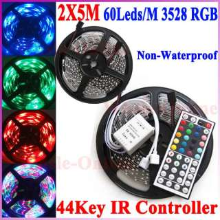 10M 60Leds/M 3528 RGB No Waterproof Flexible Strip + 44Key IR Remote