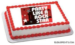 Party Like a Rock Star Edible Image Icing Cake Topper