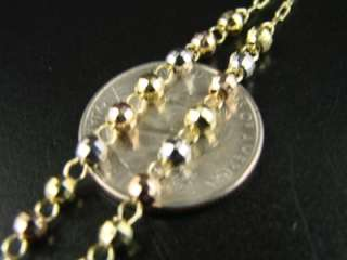 10k TRI GOLD ROSARY DIAMOND CUT NECKLACE CHAIN 25+4