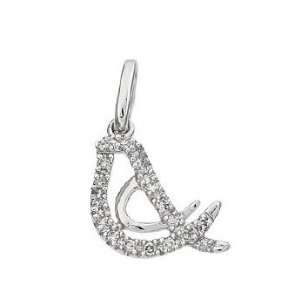 Solid Real White Gold Diamond Bird Charm Pendant 17043