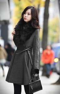 2011 New fashion Gray Women coat Fox fur Collars Winter Warm outwear