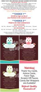 Sweet Owl Printable Birthday or Baby Shower Invitations