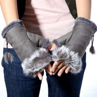 Womens Soft Rabbit Fur Hand Wrist Fingerless Warm Winter Gloves New