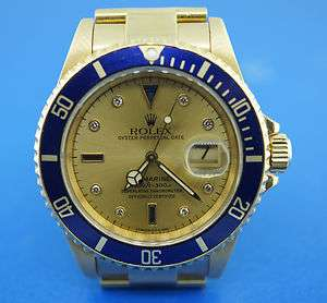 BLUE ENAMEL SAPPHIRE DIAMOND TWO TONE ROLEX SUBMARINER OYSTER MENS BOX