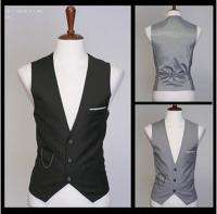 Mens Slim Luxury business Dress Vest 3 button 2 color